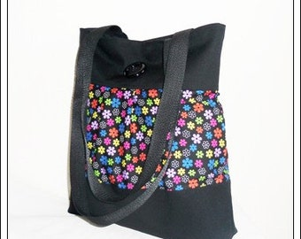 Stable shopper for Uni, Office etc.., black, multi colored, flower, cotton, strap