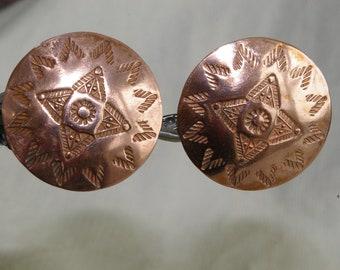 Vintage Copper Disk Earrings - Southwestern Style-  1950's