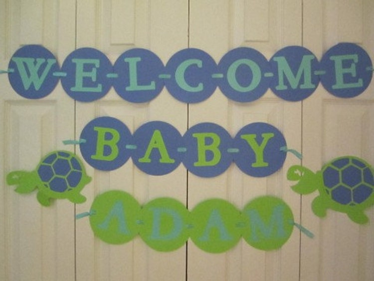 Personalized Baby Shower Banner Turtle Theme By