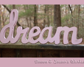 dream sign home decor wooden sign rustic wooden sign pink dream sign
