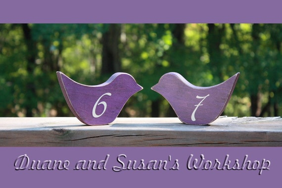 Bird Wedding Table Numbers, Wooden, Wedding reception, Painted