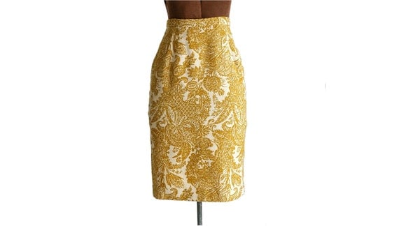 1960s Paisley Print Pencil Skirt, Knee Length Mustard XS