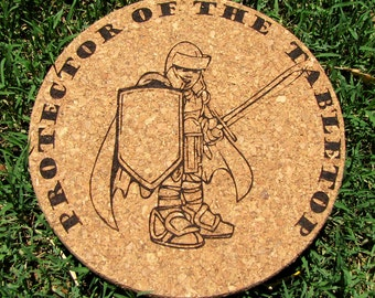 "Laser-Engraved 7-1/4"""" Cork Trivet ""Protector of the Tabletop"""
