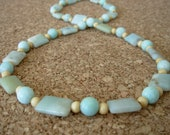 Amazonite beaded necklace with wood bead spacers and sterling silver- High Tide