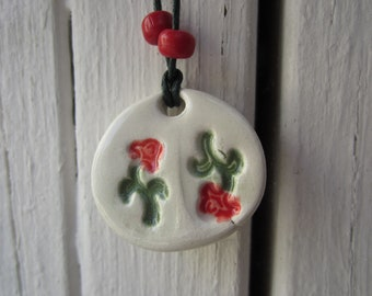 SALE Two Red Flowers Necklace