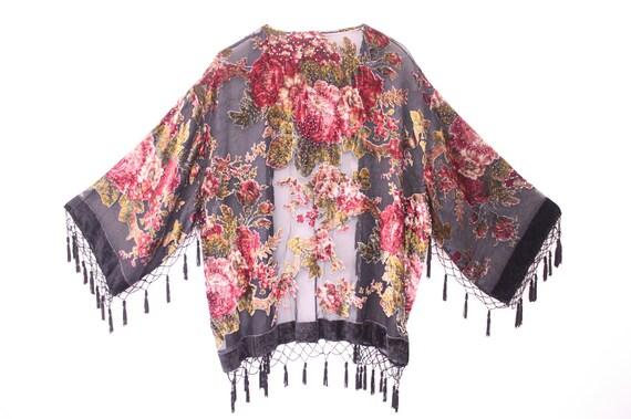 Sheer Velvet Burnout Fringe Kimono Jacket
