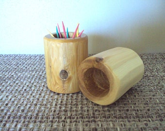 Log Tooth Pick Holder - Cedar Furniture Rustic Cabin Lodge Decor Gift