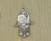 Hamsa Hand Necklace - Fatima Hand - Evil Eye Necklace - Good Luck Necklace - Silver Hamsa Charm