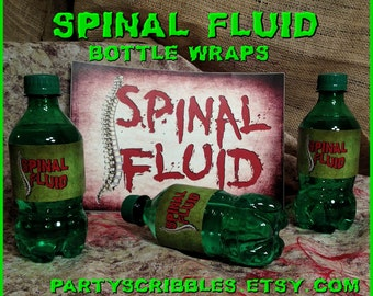 Zombie Apocalypse Spinal Fluid Bottle Wraps & Sign for the Walking Dead, Warm Bodies, World War Z Printable INSTANT DOWNLOAD