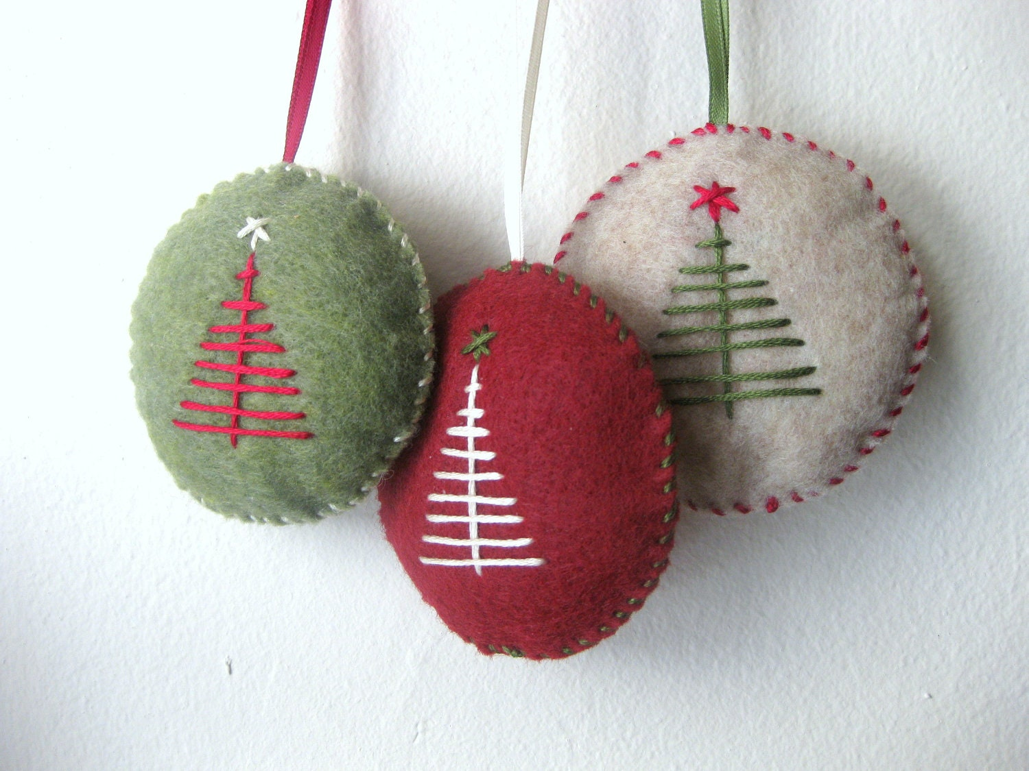 Christmas ornament set in felt handmade ornaments