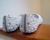 Hand Made Wedding Rhinestone Ivory Flats Shoes