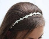 Lidia Simple   Swarovski crystal  bridal  headband, Diamond Shape Bridal Headband, Long Crystals Headband, marquise cut crystal Headband