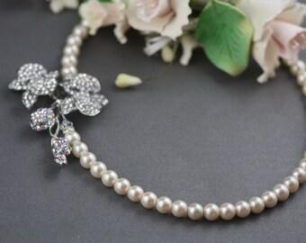Orchid Swarovski crystal and ivory pearl elegant bridal neclace