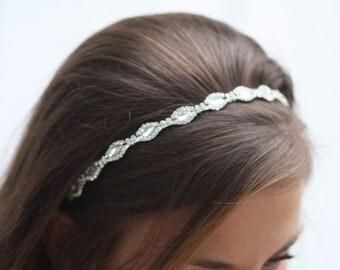 Metal Simple crystal  bridal  headband, Diamond Shape Bridal Headband, Long Crystals Headband, marquise cut crystal Headband, Bridal Tiara