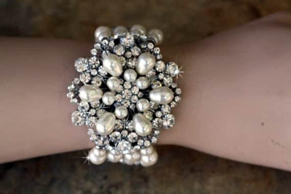 Fantacia Swarovski crystal and pearl bridal  four strand bracelet
