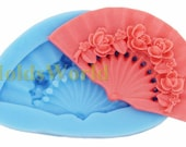 A297 Silicone Mold Mandarin Fan Cabochon 1 Cavities Flexible Mould for Polymer Clay Resin Candy Fimo Super Sculpey Crafts Jewelry