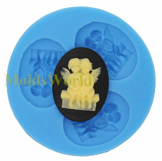 A103 Two Angel Cabochon 3 Cavity Flexible Silicone Mold Mould for Crafts, Jewelry, Scrapbooking,  (resin, Utee, pmc, polymer clay)