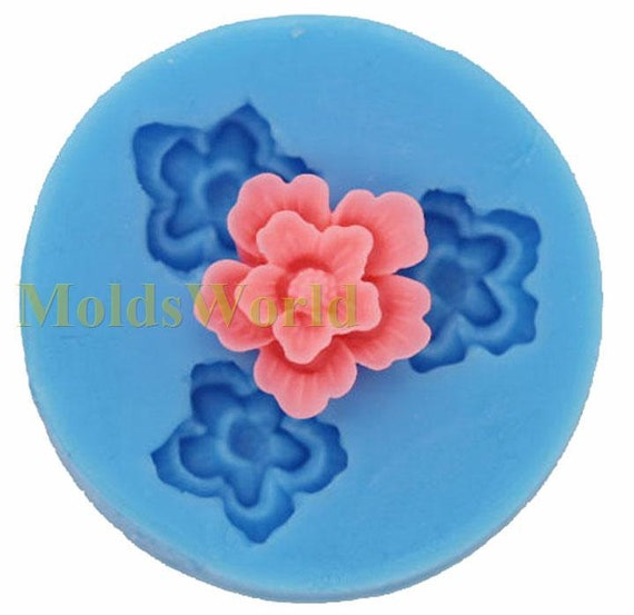 A110 Flower Cabochon 3 Cavity Flexible Silicone Mold Mould for Crafts, Jewelry, Scrapbooking,  (resin, Utee, pmc, polymer clay)