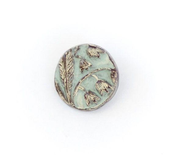 Pale Antique Blue Lily of the Valley Polymer Clay Button