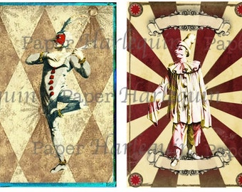 Harlequin Pierrot Printable DIY Vintage Style Set of eight TAGS Decoupage Gift Cards Journal ACEO Altered Art
