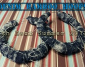 Denim Wrapped Sports Themed NFL NBA NCAA or Custom Fabric Bamboo Earrings Design Your Own