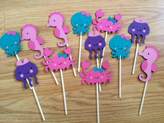 12 Girly Under the Sea Cupcake Toppers