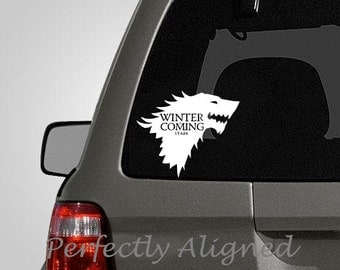 """Car Decal - 7"""" Game of Thrones inspired Direwolf House Stark Crest Car Decal"""