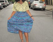 Turquoise Tribal Midi Skirt