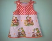 Recycled vintage fabric mod dress baby dress toddler dress pinafore jumper with alp children