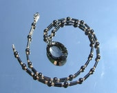 Statement Necklace Long Hematite w/ Crystal Focal Pendant