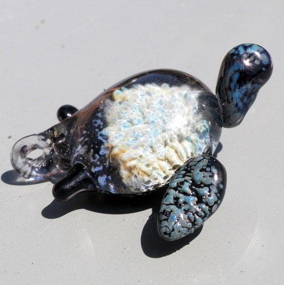 Glass Sea Turtle Pendant Focal Boro Lampwork hand blown Honeycomb SRA  Implosion Blue silvers greens