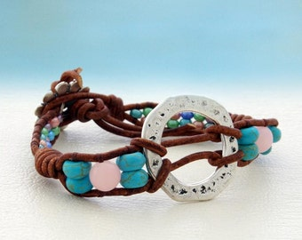 Shiloh... leather wrap bracelet... Original OceanBead Style.