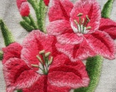 Beautiful Vintage Crewel Work Flowers on  Linen -Bright fuschia and pink  Flowers - Excellent Colors and Workmanship....