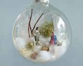 Holy Family, Baby Jesus, Nativity Winter Scene Glass Ornament