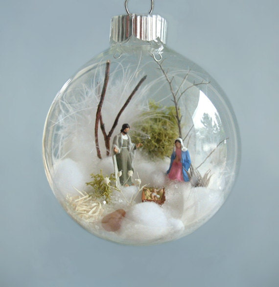 Vintage Religious Nativity Christmas Ornament: Holy Family Baby Jesus Nativity Winter Scene Glass Ornament
