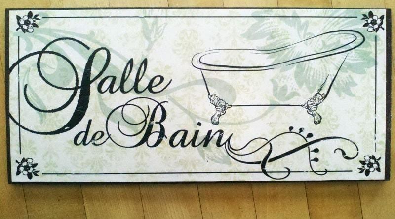 Salle de bain french bathroom decor sign by fiona53 on etsy - Custom signs for home decor concept ...