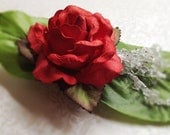 Red Rose Hair Barrette. Romantic. Green Silk Leaves. Crystal Accent. Woodland. Wedding. Hair Accessory. Dyed Rose. Statement Hair Pin. - MintMarbles
