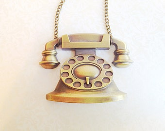 Miniature Vintage Telephone Necklace. Brass. Vintage Style. Statement Necklace. Oddities. Antique Gold. Large Necklace. Long Chain. Phone.