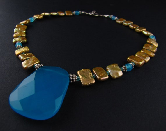 Blue Chalcedony Pearl Apatite Bold Statement Necklace