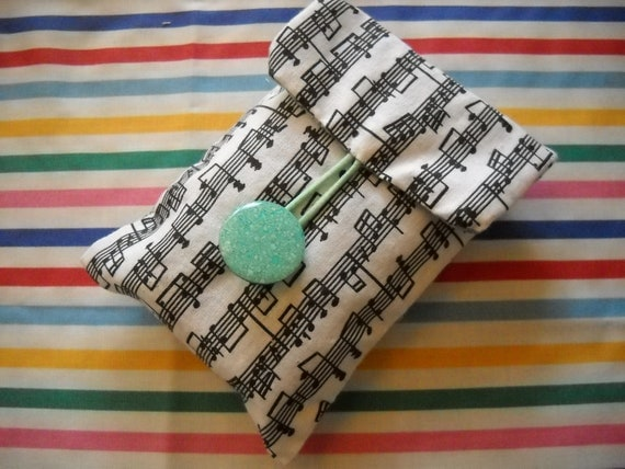 Black on white cotton print tissue pouch/ holder - musical notes design