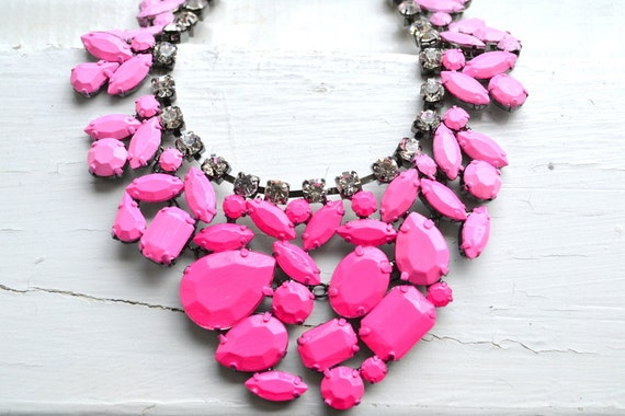 SALE - Pink Ombre Hand Painted Rhinestone Bib Necklace