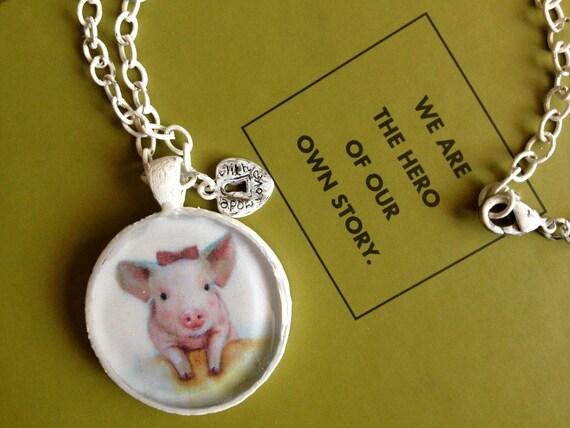 Pink Pig Handmade Jewelry, Charm Nicklace, Girls Jewelry, Animal Jewelry, White Jewelry