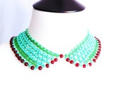 FREE SHIPPING / Mint and Red bead Collar with Vintage Button