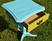 Furniture Side Table, Small Table, End Table, Boho Chic table, Colorful Artsy Table, Bohemian USA Three Legged Table, Blue Yellow