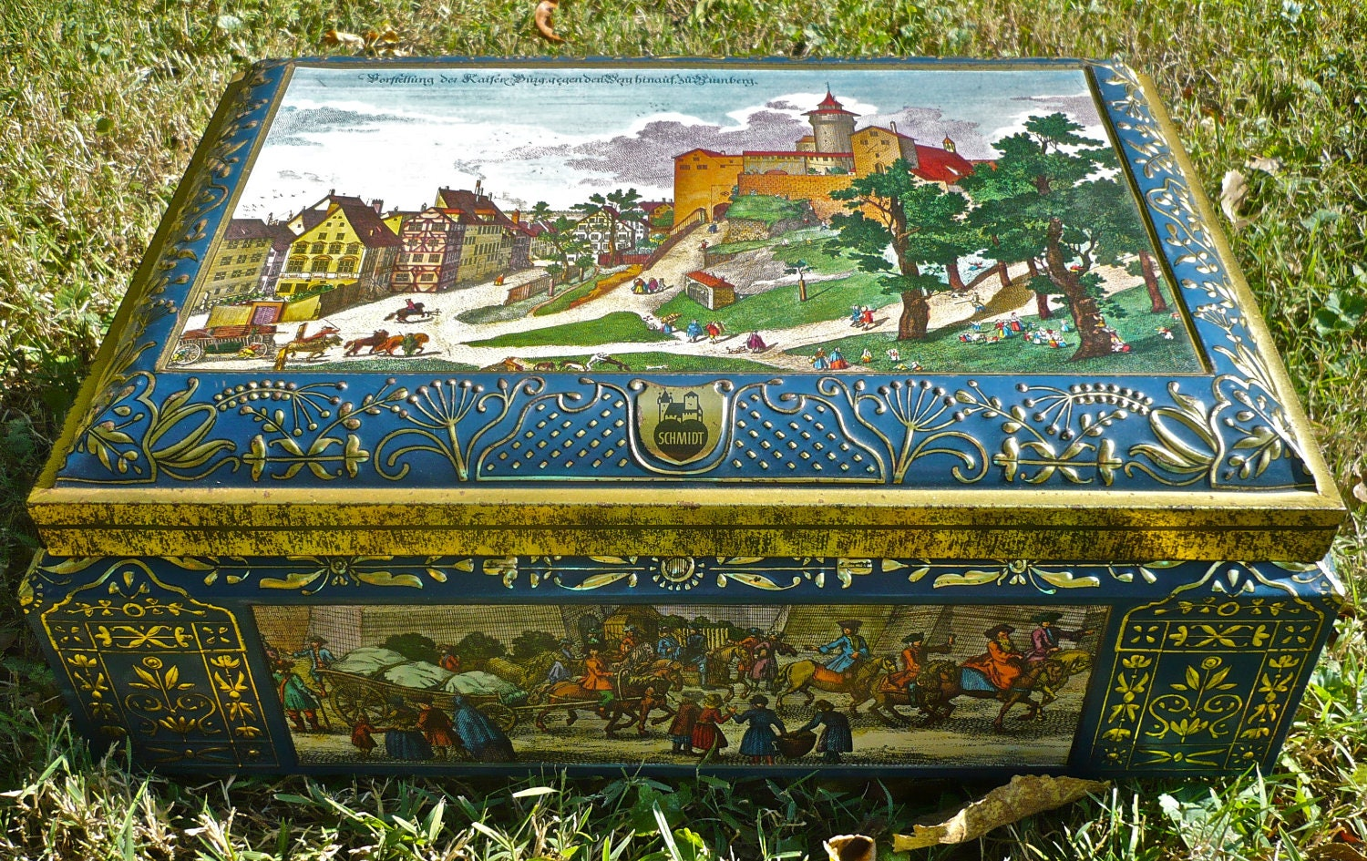 Vintage Cookie Tin From Germany Schmidt Big