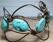 wire wrapped turquoise bracelet.