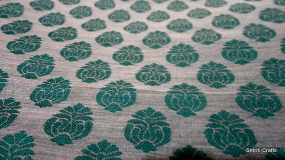 Indian fabric - Cotton Silk in Gray Background and Emerald Green Loom Woven Pattern