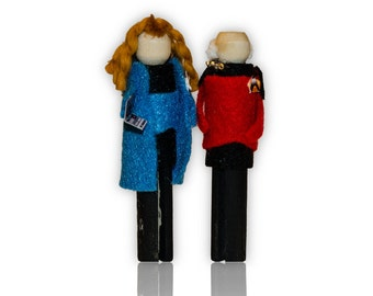Star Trek the Next Generation Captain Picard and Dr. Beverly Crusher  Clothespin Doll Ornament Kit TNG