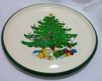 Mid Century Christmas Holiday Tray - Christmas Tree with Presents