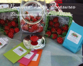 3 fake Strawberries Market fresh strawberries use for wedding favors package decoration spinner tops home décor made from wlanut